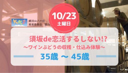 【すざかde恋活するしない!?】(その1)10月23日(土)~ワインぶどうの収穫・仕込み体験~ みなさん、「ワインぶどうの収穫」ってしたことありますか。大勢で大量に採る必用があるのです。長野県須坂市のワイナリーで、ゴン攻めでビタビタに決めましょう。とっても楽しい体験です。